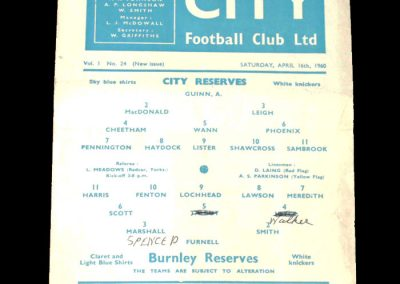Burnley Reserves v Man City Reserves 16.04.1960