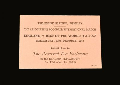England v Rest of The World 23.10.1963 (Tea enclosure pass)
