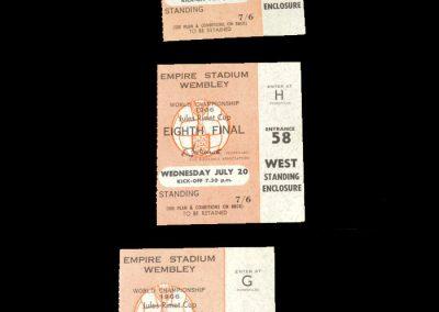 England v Mexico 16.07.1966 | England v France 20.07.1966 | England v Portugal 26.07.1966 - Semi Final (Tickets)