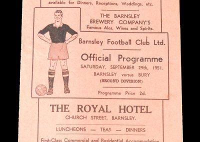 Barnsley v Bury 29.09.1951