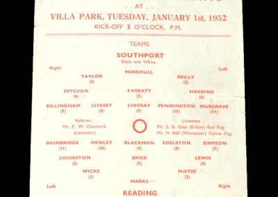 Southport v Reading 01.01.1952 - FA Cup 2nd Round 2nd Replay