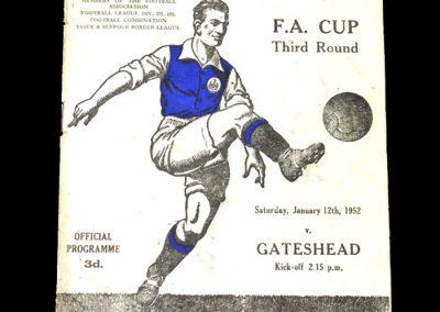 Ipswich v Gateshead 12.01.1952 - FA Cup 3rd Round