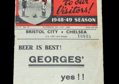 Bristol City v Chelsea 08.01.1949 - FA Cup 3rd Round