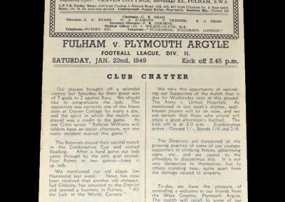 Fulham v Plymouth 22.01.1949