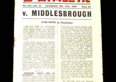 Middlesbrough v Charlton 19.02.1949