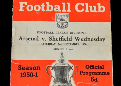 Arsenal v Sheff Wed 02.09.1950