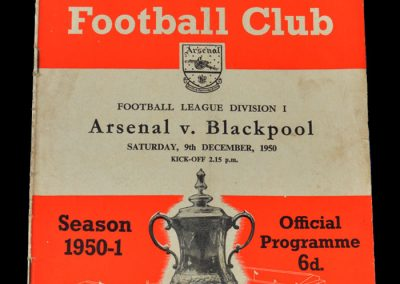 Arsenal v Blackpool 09.12.1950