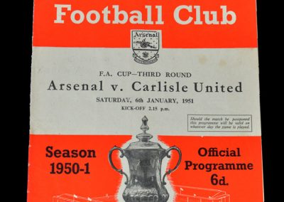 Arsenal v Carlisle 06.01.1951 - FA Cup 3rd Round