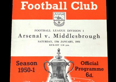 Arsenal v Middlesbrough 13.01.1951