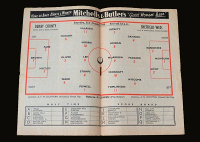 Derby v Sheff Wed 21.10.1950