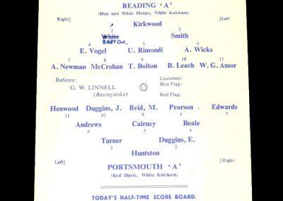 Reading A v Portsmouth A 21.10.1950