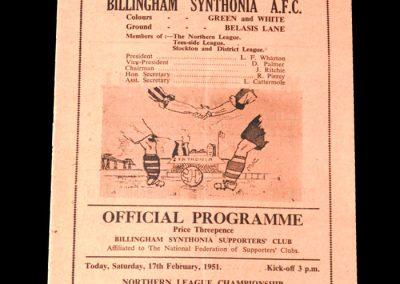Billingham Synthonia v Stanley 17.02.1951