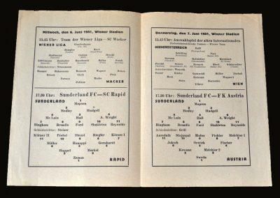 Rapid Vienna v Sunderland 06.06.1951 | FK Vienna v Sunderland 07.06.1951