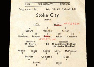 Stoke v Arsenal 22.02.1947