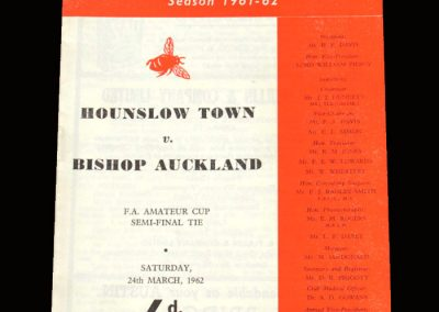 Hounslow v Bishop Auckland 24.03.1962 - FA Amateur Cup Semi Final (Lost 2-1 - Swansong?)