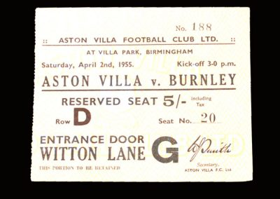 Aston Villa v Burnley 02.04.1955