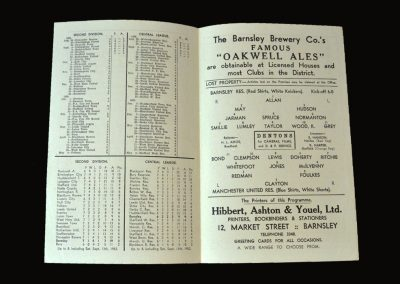 Man Utd Reserves v Barnsley Reserves 17.09.1952 Tommy Taylor hat trick