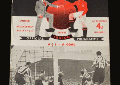 Man Utd v Middlesbrough 06.12.1952 David Pegg debut