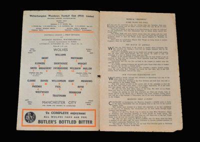 Man City v Wolves 08.11.1952