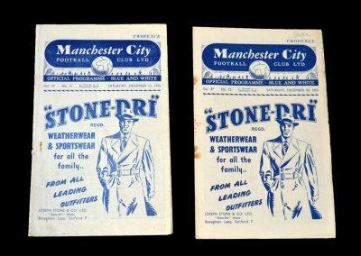 Man City v Chelsea 13.12.1952 | Man City v Stoke 20.12.1952