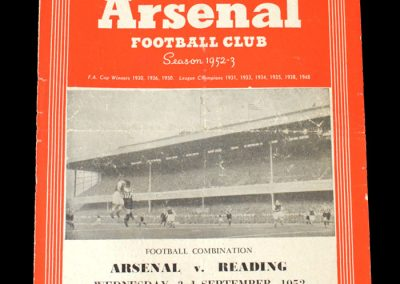 Arsenal v Reading 03.09.1952