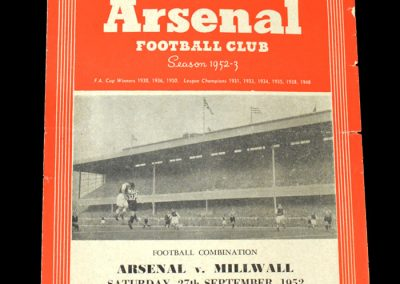 Arsenal v Millwall 27.09.1952