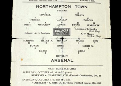 Arsenal v Northampton 02.10.1952