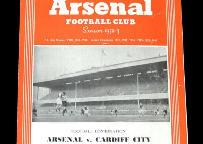 Arsenal v Cardiff 18.10.1952
