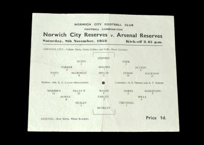 Arsenal v Norwich 08.11.1952