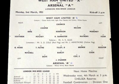 Arsenal A v West Ham A 02.03.1953