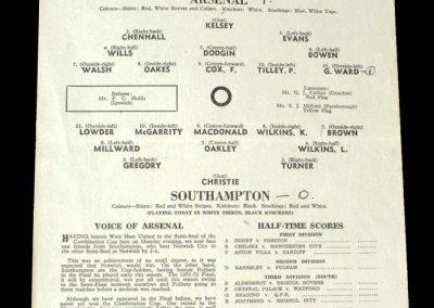 Arsenal v Southampton 29.04.1953