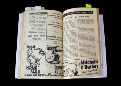 Notts County v Sheff Wed 22.03.1952 - Notes on Lawton Sale