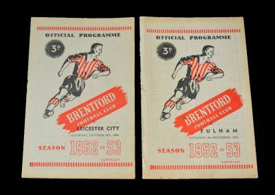 Brentford v Leicester 25.10.1952 | Brentford v Fulham 08.11.1952