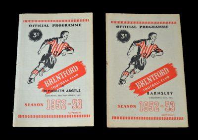 Brentford v Plymouth 22.11.1952 | Brentford v Barnsley 25.12.1952