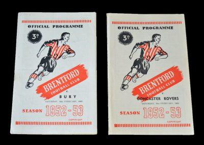 Brentford v Bury 14.02.1953 | Brentford v Doncaster 21.02.1953