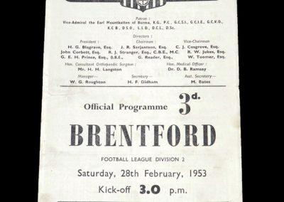 Brentford v Southampton 28.02.1953