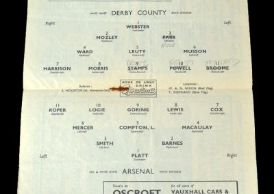 Arsenal v Derby 01.10.1949