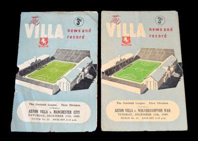 Aston Villa v Man City 17.12.1949 | Aston Villa v Wolves 27.12.1949