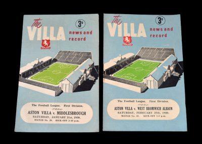 Aston Villa v Middlesbrough 21.01.1950 | Aston Villa v West Brom 25.02.1950
