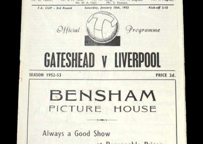 Gateshead v Liverpool 01.10.1953 - FA Cup 3rd Round