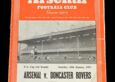 Arsenal v Doncaster 10.01.1953 - FA Cup 3rd Round