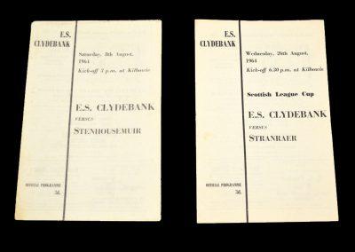 ES Clydebank v Stenhousemuir 08.08.1964 | ES Clydebank v Stranraer 26.08.1964