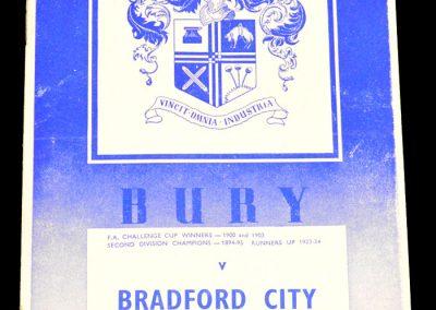 Bury v Bradford City 04.04.1959
