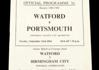Whatford v Portsmouth 19.09.1963 | League Cup 2nd Round