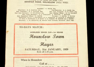 Hounslow Town v Hayes 31.01.1959
