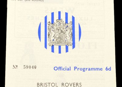 Bristol rovers v Weymouth 05.12.1964 | League Cup 2nd Round