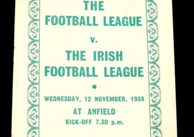 English League v Irish FC League 12.11.1958