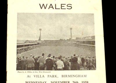 England v Wales 26.11.1958