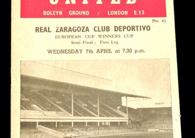West Ham United v Real Zaragoza Club Deportivo 07.04.1965 | European Cup Winners Cup Semi-Final 1st Leg