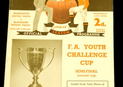 Manchester United Youth v Blackburn Rovers Youth 15.04.1959 | Youth Cup Semi Final 2nd Leg